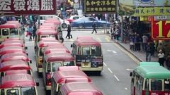 Mini buses parked in street, Mongkok, Kowloon, Hong Kong Stock Footage