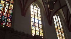 Stained glass windows at St. Thomas Church, Leipzig, Germany Stock Footage