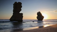 Stacks of Twelve Apostles at sunset, Port Campbell National Park, Great Ocean Stock Footage