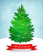 Christmas postcard with fir tree Stock Illustration