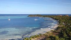 View of Mana Island, Mamanuca Islands, Fiji Stock Footage