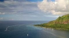 View of Opunohu Bay and Hilton Mo'orea Lagoon Resort, Mo'orea, Society Islands, Stock Footage
