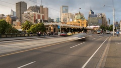 Traffic on Princess Bridge, Melbourne, Victoria, Australia Stock Footage