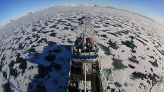 Extreme wide high angle view of ice breaker and trail in sea ice, Antarctica Stock Footage