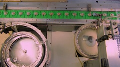 Industrial line. The production of watches. Stock Footage