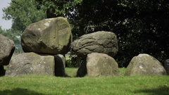 Hunebed or dolmen or megalithic tomb Stock Footage