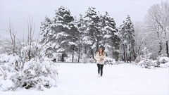 A beautiful girl walks in Park at winter Stock Footage