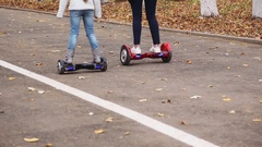 Girls Ride on Hover Board Stock Footage