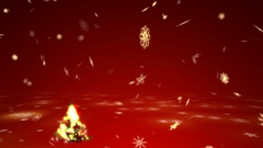 Happy Christmas tree with surrealistic plasma lights and blizzard of snowflake Stock Footage