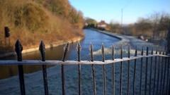 Frozen Canal Railings Stock Footage