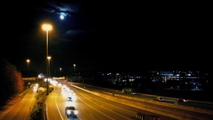 Major Highway At Night With Moon Stock Footage