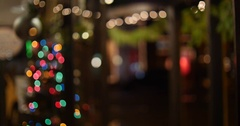 Christmas City Lights with Bokeh Blur Establishing Background, 4K Stock Footage