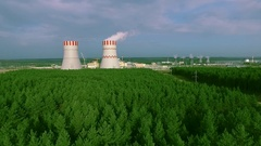 Nuclear Power Station Aerial View Stock Footage