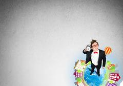 Comic businessman in red glasses Stock Photos
