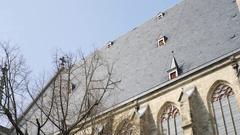 Large black roof, St. Thomas Church, Leipzig, Germany Stock Footage