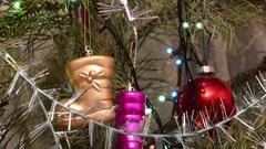 Christmas Ball and Christmas Tree. Decoration. Bright led lights Stock Footage