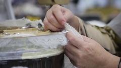 Mechanical binding downy shawl Stock Footage