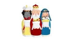 Three magi bringing gifts. Biblical kings Caspar, Melchior, Balthazar. Stock Footage