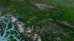 Revolution around Cassiar mountain range - masks. Satellite imagery Stock Footage