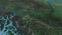 Revolution around Cassiar mountain range - masks. Topographic map Stock Footage