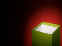 Rotationg green cube box with left copy space Stock Footage