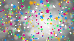 Abstract falling color stars on a gray background Stock Footage