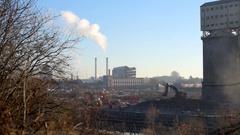 Industrial Demolition Landscape Stock Footage