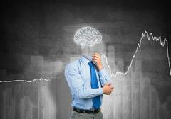 Brain headed businessman Stock Photos