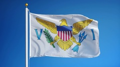 Virgin Islands of the United States flag in slow motion seamlessly looped Stock Footage