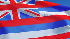 Hawaii (U.S. state) flag in slow motion seamlessly looped with alpha Stock Footage