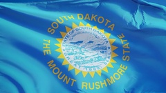 South Dakota (U.S. state) flag in slow motion seamlessly looped with alpha Stock Footage