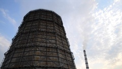 Large of smoke coming out large pipe plant Stock Footage