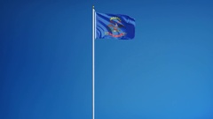 North Dakota (U.S. state) flag in slow motion seamlessly looped with alpha Stock Footage