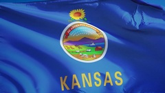 Kansas (U.S. state) flag in slow motion seamlessly looped with alpha Stock Footage