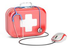 First Aid Kit and computer mouse. First Aid online concept , 3D rendering Stock Illustration