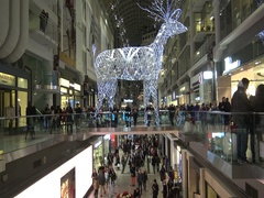 Christmas decoration giant reindeer at Eaton's Centre, Toronto, Canada Stock Footage