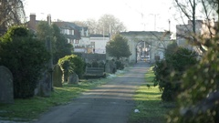 Cemetery road - very big cemetery Stock Footage