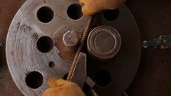 Industrial tool steel machine bends iron fittings. Stock Footage