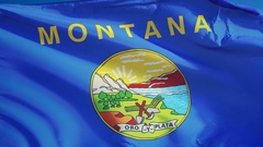Montana (U.S. state) flag in slow motion seamlessly looped with alpha Stock Footage