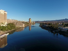 Aerial view of the casino strip in Laughlin, NV on the Colorado River Stock Footage