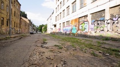 Graffiti on an abandoned street Stock Footage