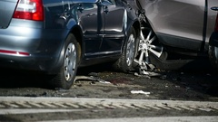 Detail with damage automobile after a car crash accident Arkistovideo