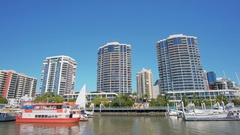 Moving shot of waterfront apartments in Brisbane Stock Footage