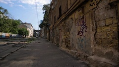 Abandoned street in the city Stock Footage