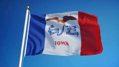 Iowa (U.S. state) flag in slow motion seamlessly looped with alpha Stock Footage
