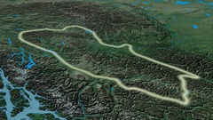 Zoom into Cassiar mountain range - glowed. Topographic map Stock Footage