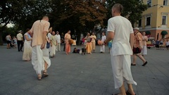 People dance and sing Hindu mantra Stock Footage
