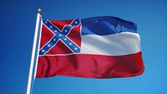 Mississippi (U.S. state) flag in slow motion seamlessly looped with alpha Stock Footage