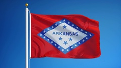 Arkansas (U.S. state) flag in slow motion seamlessly looped with alpha Stock Footage