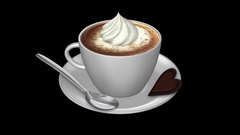 Coffee Cup - Weiner Melange Espresso - Whip Cream and Foam - Spin Loop - Alpha Stock Footage